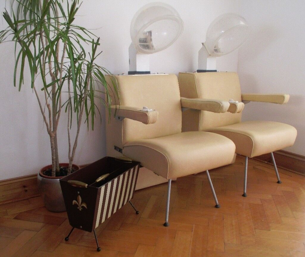 vintage retro 1960 s atomic sputnik hair salon dryer chairs x 2