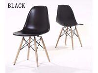 4 x Eames Eiffel DSW Retro Vintage Plastic Dining Office Lounge Chair Black BRAND NEW