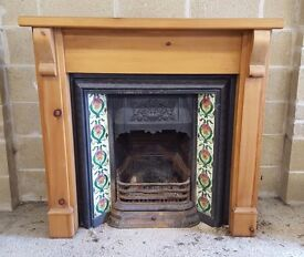 Cast Iron Fire Insert Complete with Surround