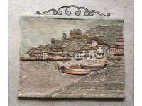 Wool tapestry wall hanging depicting an English coastal fishing village, home textiles