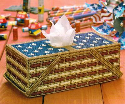 AMERICANA PICNIC BASKET TISSUE TOPPER COVER PLASTIC CANVAS PATTERN INSTRUCTIONS
