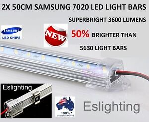 2X 50CM 7020 12V LED STRIP LIGHT BARS CAMPING CARAVAN CAMPING BOAT TENT AWNING