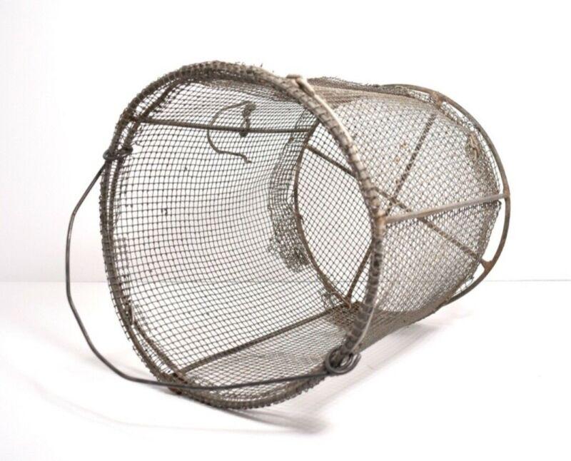 Old Vintage Metal Wire Mesh Basket Industrial  Farmhouse Rustic Decor