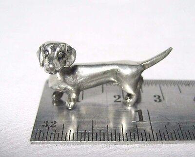 Tiny Miniature Pewter Dachshund Dog Figurine FREE SHIPPING