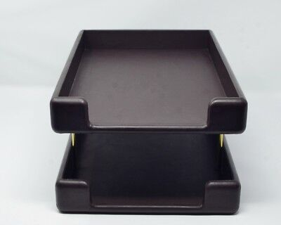 Smokador Leather Double Letter Tray Desk Organizer Dark Brown Brown Leather Letter Tray