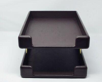 Smokador Leather Double Letter Tray Desk Organizer Dark Brown