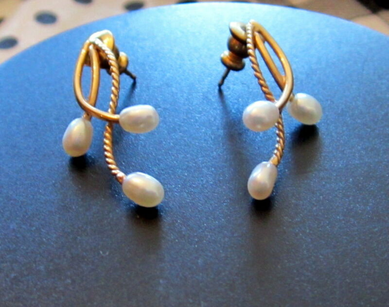 Vintage 14k Gold & Baroque Pearl Earrings Branches w/Fruit 30mmx16mm