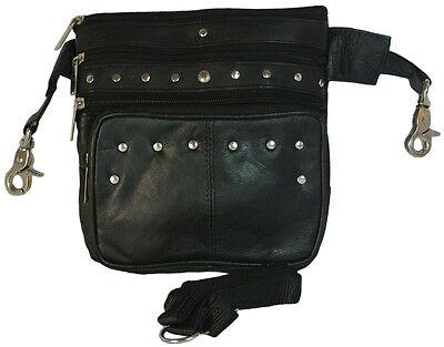 Lambskin LEATHER Studded HIP Belt Bag Convertible Cross Body Purse Waist Pack