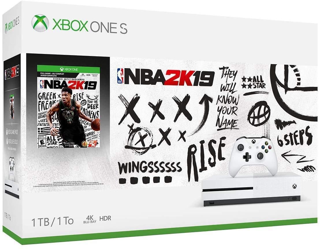 Microsoft Xbox One S 1TB NBA 2K19 Bundle with 4K Ultra HD Blu-ray White Console