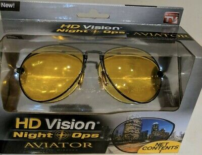 New in Box HD Vision Night Ops Aviator Glasses Open (As Seen On Tv Aviator Sunglasses)