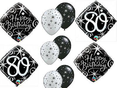 80th Birthday Balloons (10pc BALLOON set 80th BIRTHDAY classy BLACK silver SPARKLE swirls NEW)
