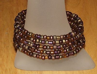 - Mahogany Beaded Wrap / Coil Bracelet USA Made - Multi Brown Glass Bead Mix GIFT