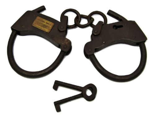 Old West Iron Adj Sheriff Handcuffs Restraints w/Working Key Tombstone Arizona