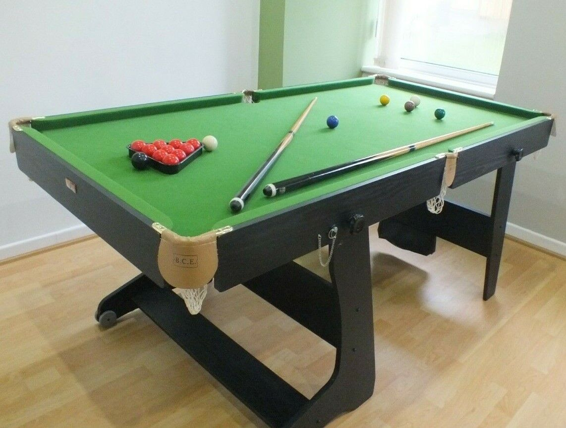 6 ft folding snooker pool table by BCE, also darts, great condition