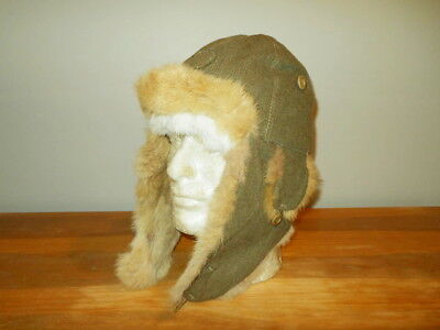WW2 Imperial Japanese Army Cold Weather Fur Hat w/ Face Protector - VERY NICE!