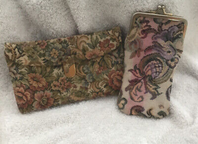 Vintage Women's Floral Fabric Tapestry/Leather Wallet Checkbook & Cigarette Case