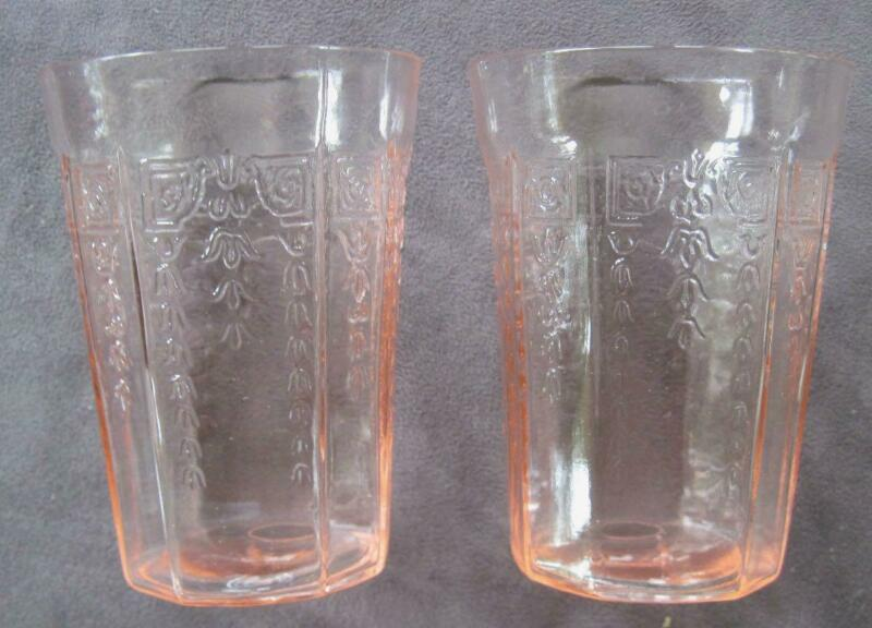 "Two 1931-35 Hocking Glass Princess Pink Depression 4"" Water Tumblers"