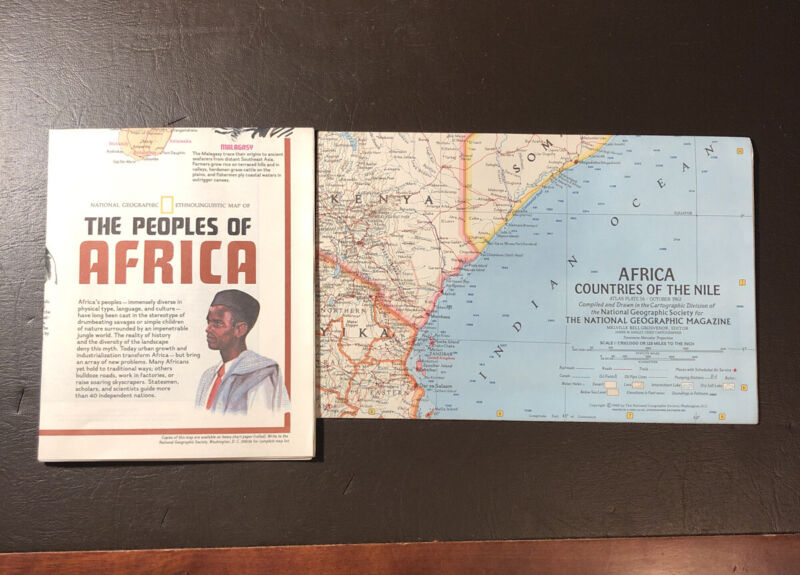 2 Vtg National Geographic African Maps