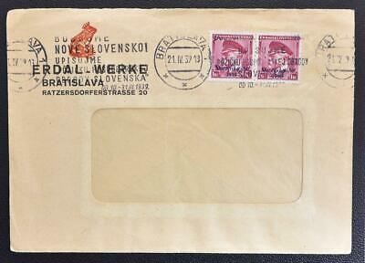 SLOVAKIA 1939 Early State Provisional on FROG Erdal Shoe Polish Co Ads Cover to