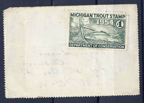 US 1954 Michigan 1$ Trout Stamp Fishing Permit Resident License XQ