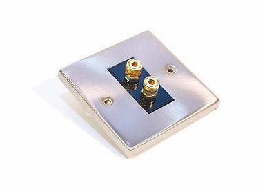 Satin Chrome Wall Plate For Use With 2 Speaker Banana Plug Terminals ()