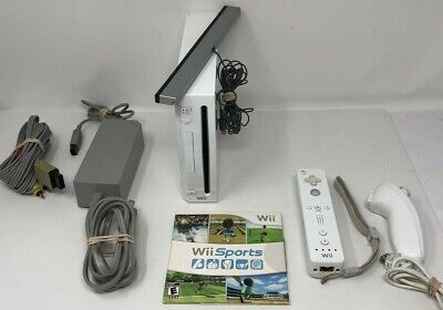 Nintendo Wii White RVL-001 Console With Wii Remote, Nunchuck, & Wii Sports Game