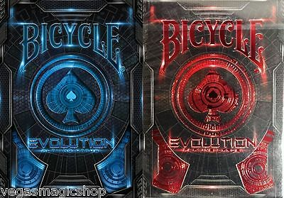 Evolution Blue & Red 2 Deck Set Bicycle Playing Cards Poker Size USPCC Limited