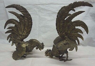 Unique Antique Vintage Pair of Collectible Bronze Metal Fighting Roosters