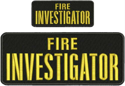 Fire Investigator embroidery patches 4x10 and 2x5 hook gold