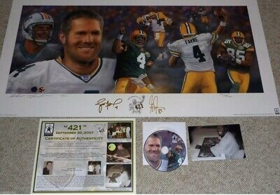 Green Bay Packers Brett Favre Dual Signed 421 TD Record Litho COA Brett Favre Td Record