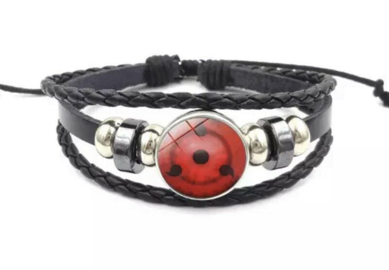 "Naruto Third Stage Sharingan Sasuke Kakashi Leather Bracelet Anime 8"" US Seller"