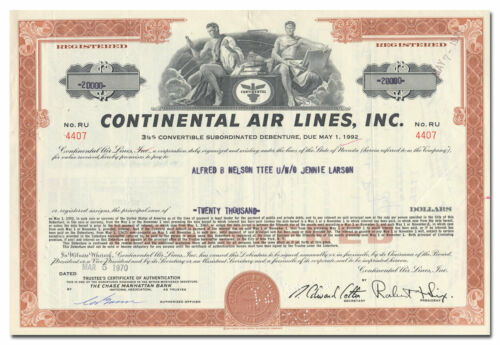 Continental Air Lines, Inc. Bond Certificate