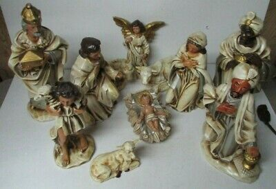 Vintage Large Japan Christmas Nativity Set - Tan w - Gold Nativity Set