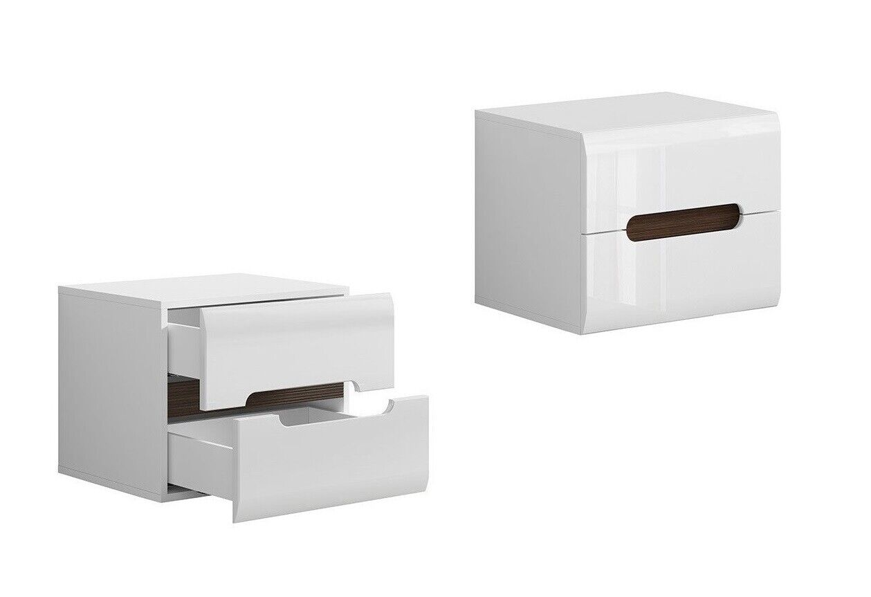White Gloss Bedside Cabinet Table Soft Close Drawers Black Gloss Insert Azteca T Ebay