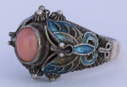 Fine antique sterling silver Chinese export enamel butterflies & Coral ring