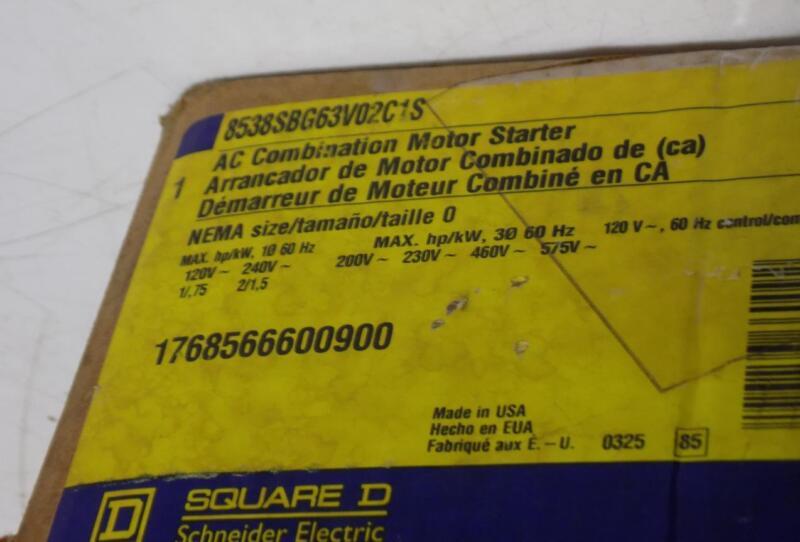 SQUARE D NEMA SIZE 0 AC COMBINATION MOTOR STARTER 8538SBG63V02C1S NIB