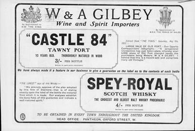 Antique Tawny Port - 1905 Antique ADVERTISING Print - Castle 84 Tawny Port Spey Royal Whisky (250)