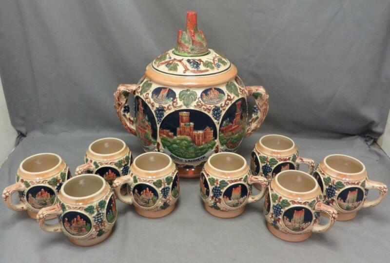 Gerz Castles On The Rhine Gerzit W German Punch Wine Bowl Tureen +8 stein Mugs
