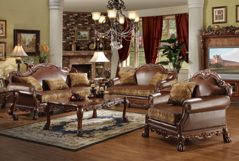 Dresden Formal 3pc Sofa Set Brown Chenille Carving Sofa Loveseat & Chair Pillows