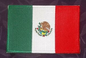 MEXICO FLAG PATCH  MEXICAN FLAG EMBROIDERED PATCH LATINO SEW/ IRON DIY