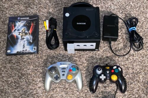 BLACK NINTENDO GAMECUBE SYSTEM BUNDLE - Console+Controls+Game+ Game Cube *NICE!*