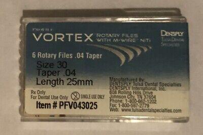 Dentsply Vortex Files .04 Taper - Size 20 30 35 40 - Length 21 25 - 6pack