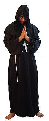 All Black Halloween Costumes Men (HALLOWEEN-THE BLACK MONK Men's Fancy Dress Costume with Cross & Belt - All)