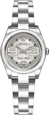 WOMEN'S ROLEX OYSTER PERPETUAL SILVER DIAL 26MM LUXURY WATCH | 176200-SLVMDO