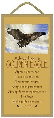 ADVICE FROM A GOLDEN EAGLE Wood INSPIRATIONAL SIGN wall NOVELTY PLAQUE Bird USA