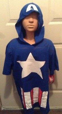 MARVEL CAPTAIN AMERICA HOODED T-SHIRT DETACHABLE SHIELD ADULT MEN'S S or L](Captain America Adult Shield)