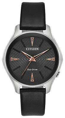 Citizen Eco-Drive Modena Women's Black Leather Strap 36mm Watch EM0591-01E