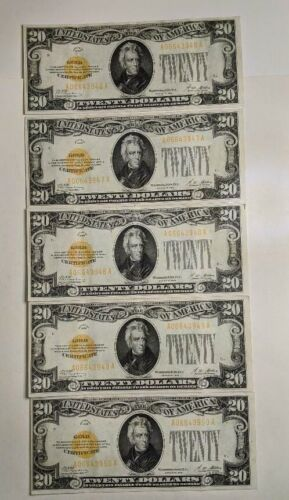 1928 $20 Small Gold Certificate Note RARE 5 Consecutive Serial Number