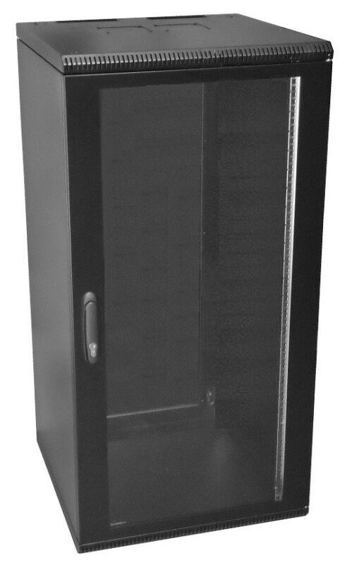 19 Inch 24U 500mm Deep Wall Mount Network Cabinet Rack, Glass Door w/lock, Black
