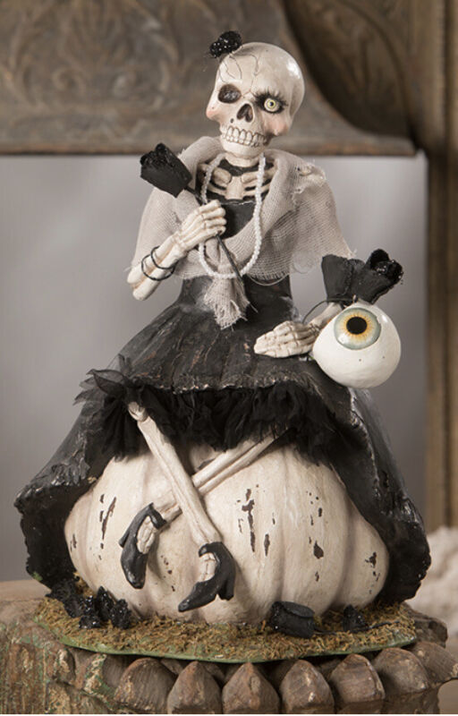 Bethany Lowe Halloween Miss Skeleton On A Pumpkin —NEW FOR 2020!